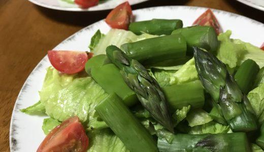 今年最初のアスパラ料理 グリーンサラダ